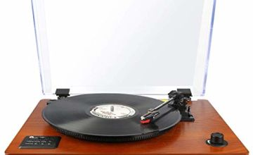 1byone Belt Driven Wooden Turntable