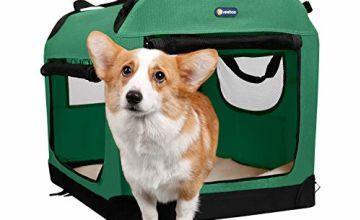 Veehoo Folding Soft Dog Crate, 3-Door Pet Kennel for Crate-T