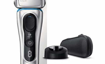 Braun Series 8 8350s Next Generation Electric Shaver with Charging Stand and Fabric Travel Case Wet and Dry Foil Shaver 100 Percent Waterproof Rechargeable and Cordless Razor Silver, 2 pin plug