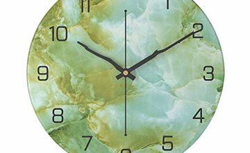 AVEKI Silent Clock 12 Inch Marble Wall Clock Battery Operate