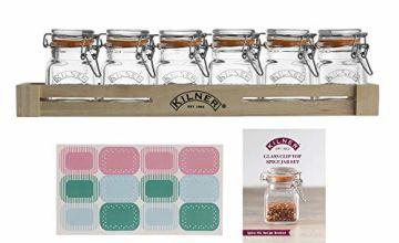 Kilner 6 Piece Clip Top Jar Set - set includes 12 x jar labels, 1 x wooden crate and 1 x FREE recipe booklet