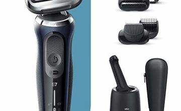 Braun Series 7 Electric Shaver for Men with Beard Trimmer, Stubble Beard Trimmer, SmartCare Center, Wet & Dry, Rechargeable, Cordless Foil Razor, Blue, 70-B7850cc