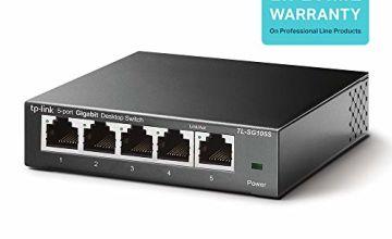 TP-Link TL-SG105S 5-Port Desktop Gigabit Ethernet Switch/Hub, Ethernet Splitter, Plug & Play, no configuration required, Steel Case, Lifetime Warranty