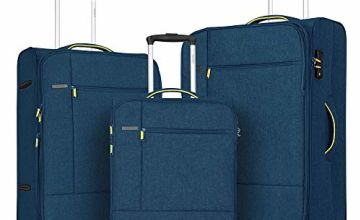FOCHIER 3 PCS Set Softshell Luggage Lightweight Spinner Suit