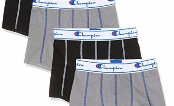Save on Champion Men's Coton X4 Boxer Shorts, Multicolour (Gris/Noir 8md), X-Large (Pack of 4) and more