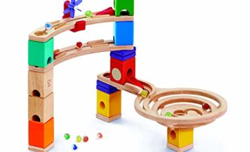Hape E6021 Quadrilla Race to the Finish, Wooden Marble Run - 58 pieces, Educational Construction Toys for 4 Years and Up