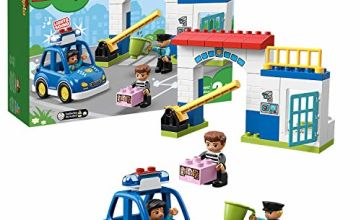 LEGO 10902 DUPLO Town Police Station with Light and Sound, Police Car, Jail Cell and 2 Policemen Figures, Toys for Toddlers