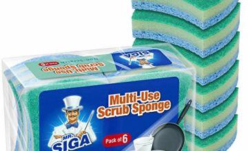MR.SIGA Multi-Use Cellulose Scrub Sponge, Dual-Sided Dishwas