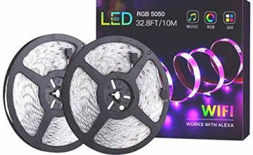 LED Strips Lights, 32.8FT RGB Light Strip Smart Voice WiFi W