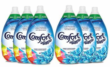 Comfort Ultra Concentrated Intense Fabric Conditioner and Softener Liquid, Fuchsia Passion, Extra Clean And Uplifting Fragrance For Clothes, 100% Recycled Plastic, Large Family Pack (6 x 360 Washes)