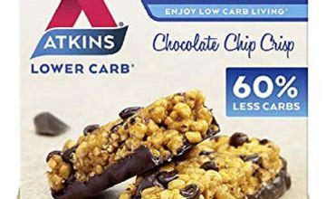 Atkins High Protein Bar, Keto Snack, Low Carb, Low Sugar Chocolate Chip Crisp Snack Bar, 5 Bar Box x 4 (20 Bars Total)