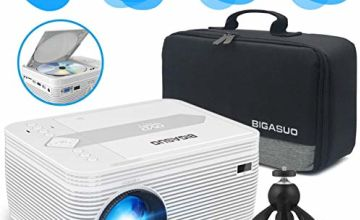 BIGASUO Mini Bluetooth Projector with DVD Player