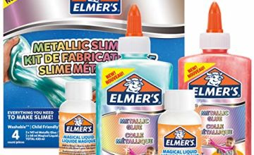 Save on Elmer's Metallic Slime Kit | Slime Supplies Include Metallic PVA Glue | With Magical Liquid Slime Activator | 4 Piece Kit and more