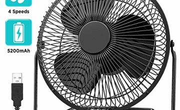 EasyAcc 8 Inch Battery 5200mAh Operated Desk Table Fan with