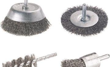 wolfcraft set of wire brushes, round shank Ø 6 mm, 2133000