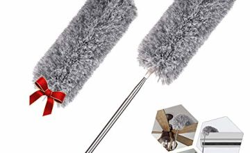 Extendable Feather Duster with 2 Bendable Microfiber Head 10