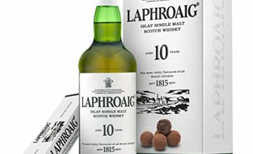 Laphroaig 10 Year Old Islay Single Malt Scotch Whisky with Milk Chocolate Truffles Gift Box, 70 cl