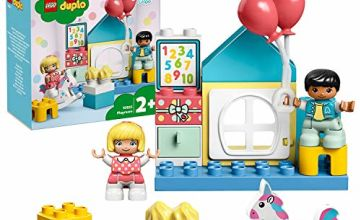 LEGO 10925 DUPLO Town Playroom Playable Dolls House Box for Toddlers 2+ Year Old, Large Bricks Learning Toy