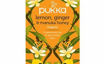 Pukka Lemon, Ginger & Manuka Honey, Organic Herbal Tea Bags (4 Pack, Total 80 Tea bags)