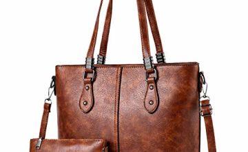 Womens PU Leather Handbags Large Capacity Retro Vintage Top-