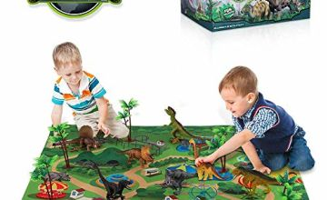 TEMI Dinosaur Toy Figure with Activity Play Mat