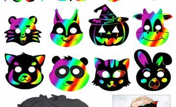 KOMIWOO Scratch Animal Masks,24 PCS Magic Rainbow Scratch Pa