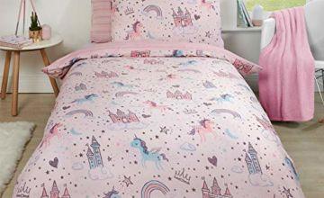 Dreamscene Unicorn Kingdom Duvet Set, Single, Polycotton Polyester 50% Cotton, Blush Pink