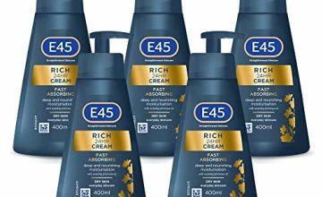 E45 Rich 24 Hours Moisturising Cream 400 ml, Total 2 Litre, Pack of 5