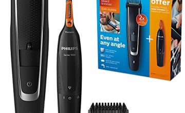 Philips Series 5000 Beard and Stubble Trimmer / Hair Clipper (0.4 mm-10 mm) with Series 1000 Nose, Ear and Eyebrow Trimmer - BT5503/83