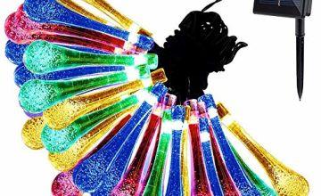 Solar String Lights, 30led Water Drop Fairy Lights, Automati