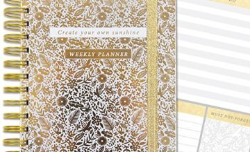 Life Organiser - Lustre Gold Floral - 4 Tabbed Sections For