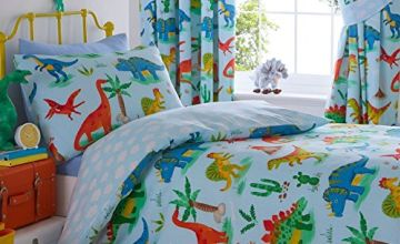 """""""Kids Club Dinosaurs Bed Duvet Cover and Pillowcase Set, Polyester-Cotton, Blue, Single,""""."""