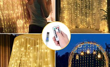 OUSFOT Curtain Lights 300 Led Curtain Lights 8 Modes Easter