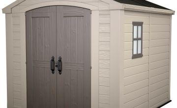Keter Factor Apex Garden Storage Shed 8 x 8ft – Beige/Brown