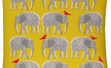 Habitat Topsy Elephant Pattern Cushion - Yellow
