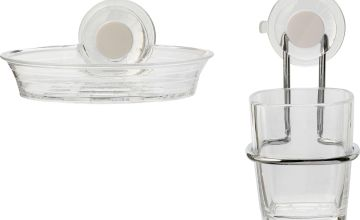 Croydex Press 'n' Lock 2 Piece Soap Dish & Tumbler - Clear