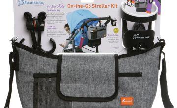 Dreambaby? On-The-Go Stroller Bag + Hooks + Cup - Grey Denim