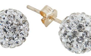Revere 9ct Gold Crystal Glitter Ball Stud Earrings