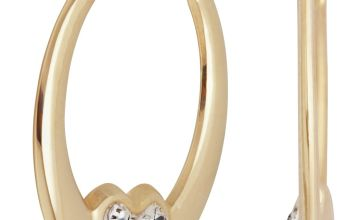 Revere 9ct Gold Reversible Crystal Heart Creole Earrings