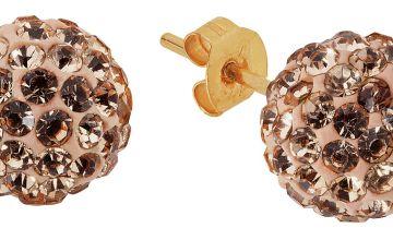 Revere 9ct Gold Crystal Champagne Glitter Ball Stud Earrings