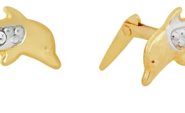 Andralok 9ct Yellow Gold Dolphin CZ Stud Earrings