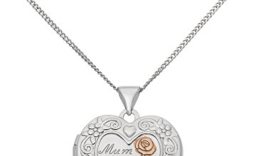 Moon & Back Silver Heart 'Mum' Locket  Pendant Necklace