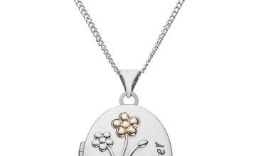Moon & Back Silver Granddaughter Locket  Pendant Necklace
