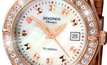 Sekonda Classique Ladies Rose Gold Plated Stone Set Watch