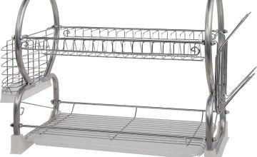 Argos Home 2 Tier Dish Rack - Silver