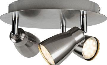 Argos Home Miller 3 Spotlight Ceiling Plate - Brushed Chrome
