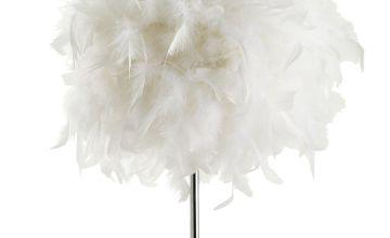 Argos Home Feather Table Lamp - Chrome & White
