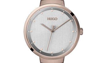 HUGO Ladies Gold Plated Mesh Bracelet Watch