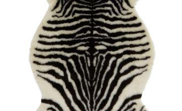 Argos Home Zebra Faux Fur Rug - 60x90cm - Monochrome