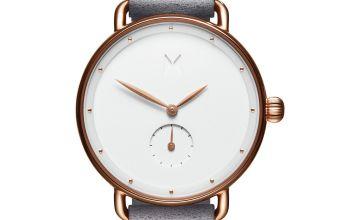 MVMT Ladies Grey Leather Strap Watch